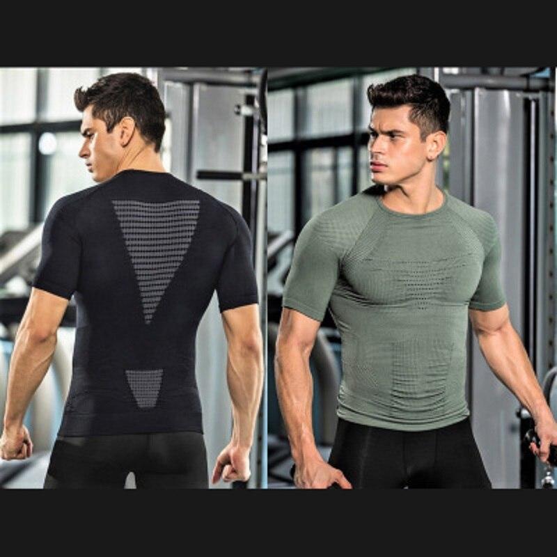 2019 new arrival Men's Quick-drying Breathable Honeycomb Seamless Wet Skinny Short Sleeve Bodysuit