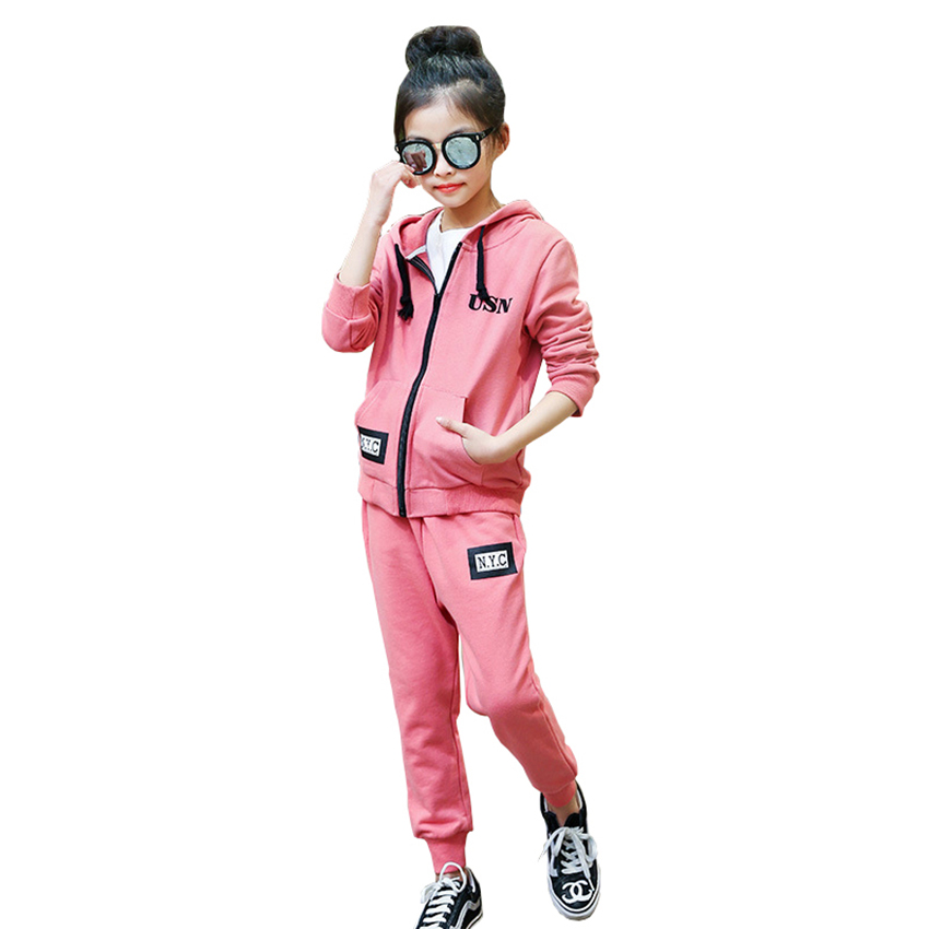 Teenage Girls Clothing Sets Children Sport Suits 2018 Spring Autumn Kids Tracksuits Hooded Coat +Pants 2pcs Clothes For 8 12Year kids clothes set spring autumn girls boys long sleeved sports suits children teenage jacket pants 2pcs sets clothing tracksuits