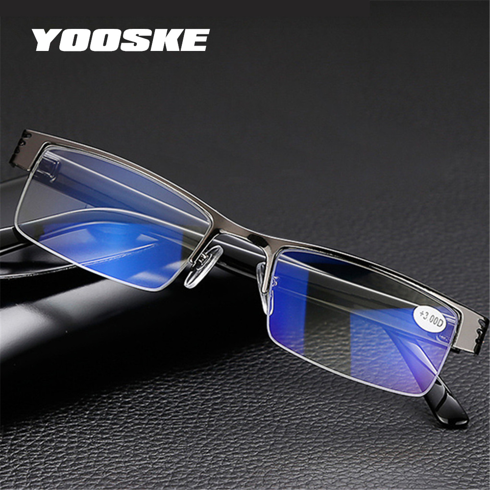YOOSKE Blue Film Resin Reading Glasses Men Women Metal Frame Hyperopia Eyewear +1.00 1.50 2.00 2.50 3.00 3.50 4.00 Diopter