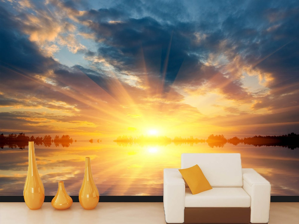 [Self-Adhesive] 3D Golden Sunset Lake 42 Wall Paper Mural Wall Print Decal Wall Murals