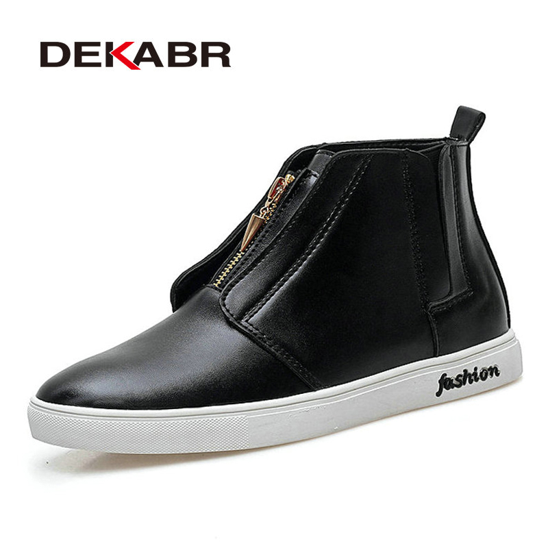 DEKABR Original Brand The New High Quality Pu Leather Autumn Winter Casual Ankle Shoes British Fashion Casual Men Boots serene handmade winter warm socks boots fashion british style leather retro tooling ankle men shoes size38 44 snow male footwear