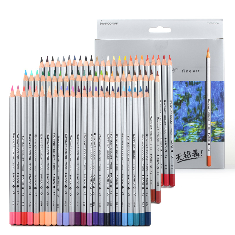 Marco 7100 Raffine Fine Art Colored Pencils 24/36/48/72 Colors Drawing Sketches Colour Pencil For School Office Art Supplies цена