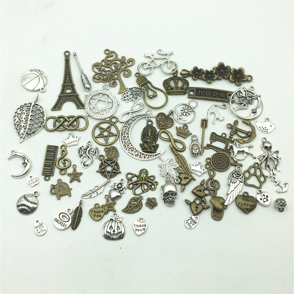 LJJAGLL European Big hole Beads Mixed Random Tibetan Silver Charms 20pcs lot Vintage Metal Pendants DIY Jewelry AHK001 in Charms from Jewelry Accessories