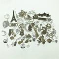 LJJAGLL European Mixed Tibetan Charms 100pcs/lot Vintage Metal Animal Heart Charms Chrsitmas Clock Pendants DIY Jewelry AHK001