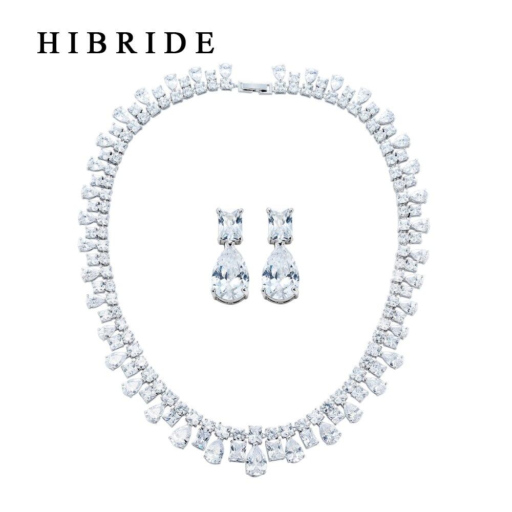 HIBRIDE Square & Water drop ล้อมรอบชุดเครื่องประดับเงาโรเดียมชุบเครื่องประดับ Cubic Zircon สำหรับเจ้าสาวงานแต่งงาน HJ0001-ใน ชุดอัญมณี จาก อัญมณีและเครื่องประดับ บน AliExpress - 11.11_สิบเอ็ด สิบเอ็ดวันคนโสด 1