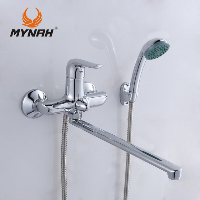MYNAH Bathroom Faucet Bath Shower Faucets Bath Mixer Shower System Tropical  Shower Rack With Mixer Copper