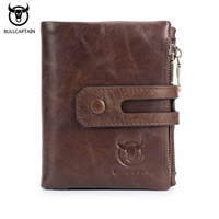 BULLCAPTAIN Top Quality Cow Genuine Leather Men Wallets Fashion Bifold Coin Purse Cowhide Business Luxury Brand