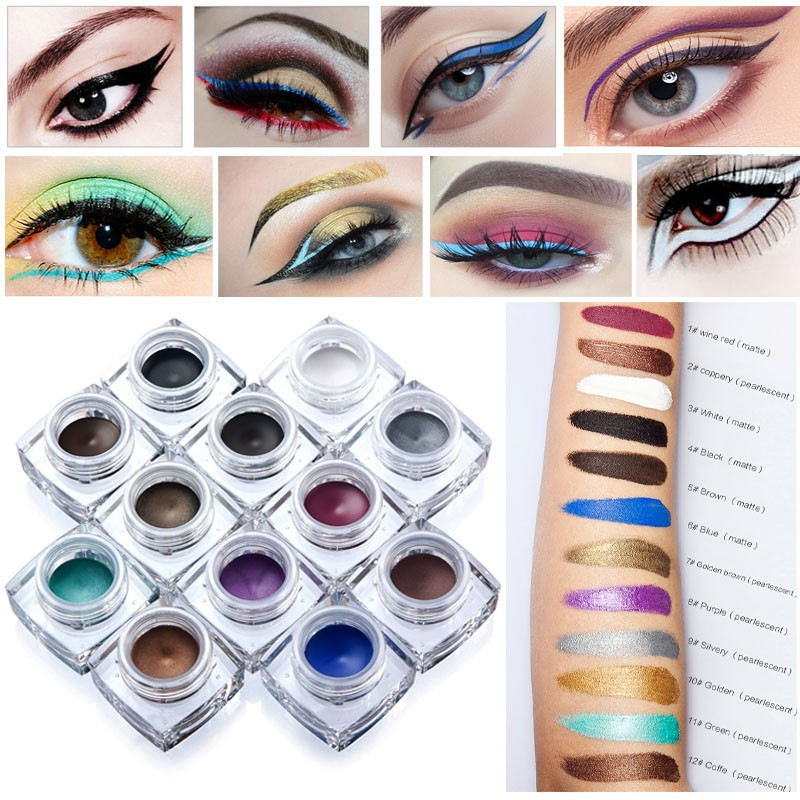HUAMIANLI Brand 12 Color Matte Eyeliner Gel Waterproof Glitter Shimmer Eye Liner Cream Super Thick Lasting Fast Drying Makeup