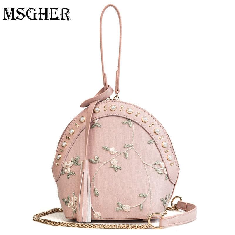 M.S Embroidery Flower Mesh Bags Women Summer Shell Small Bag Cute Colors Pearls Handbags Female Tassel Crossbody Chain Bag WB706