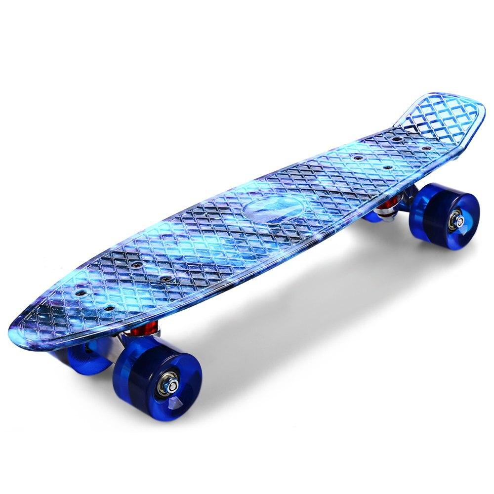 Prix pour CL-94 22 Pouce Longue Planche À Roulettes Imprimé Graffiti Étoilé Ciel Motif Rétro Mini Planche À Roulettes Cruiser PU Quatre Roues Skate Board