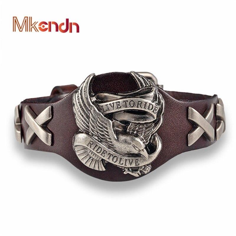 MKENDN offre spéciale ride to live bracelets homme oiseau crâne rétro bracelet homme en cuir véritable Bracelet hommes femme bracelets bracelets