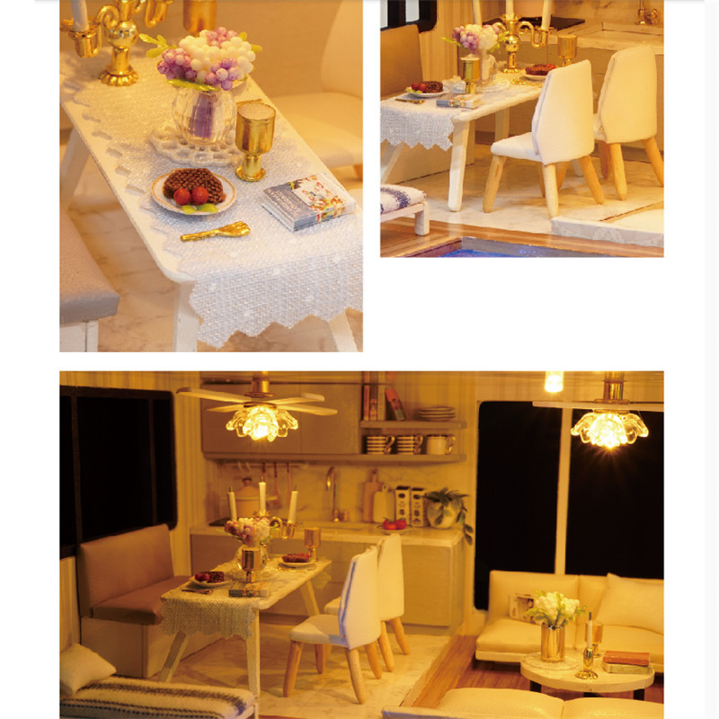 Souvenirs for Home Wooden 3D Dollhouse Gifts Time Apartment Music Casa Miniatura With LED Lights Diy Poppenhuis House for Dolls in Doll Houses from Toys Hobbies