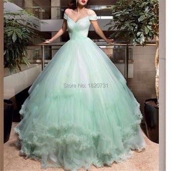 334c57e5289 ... vestidos De 15 Anos. Очаровательная мята Бальные платья 2019 Длинные  Тюль Кепка