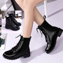 ELGEER New lace British boots non-slip square with waterproof platform Knight Ms. warm and comfortable large size