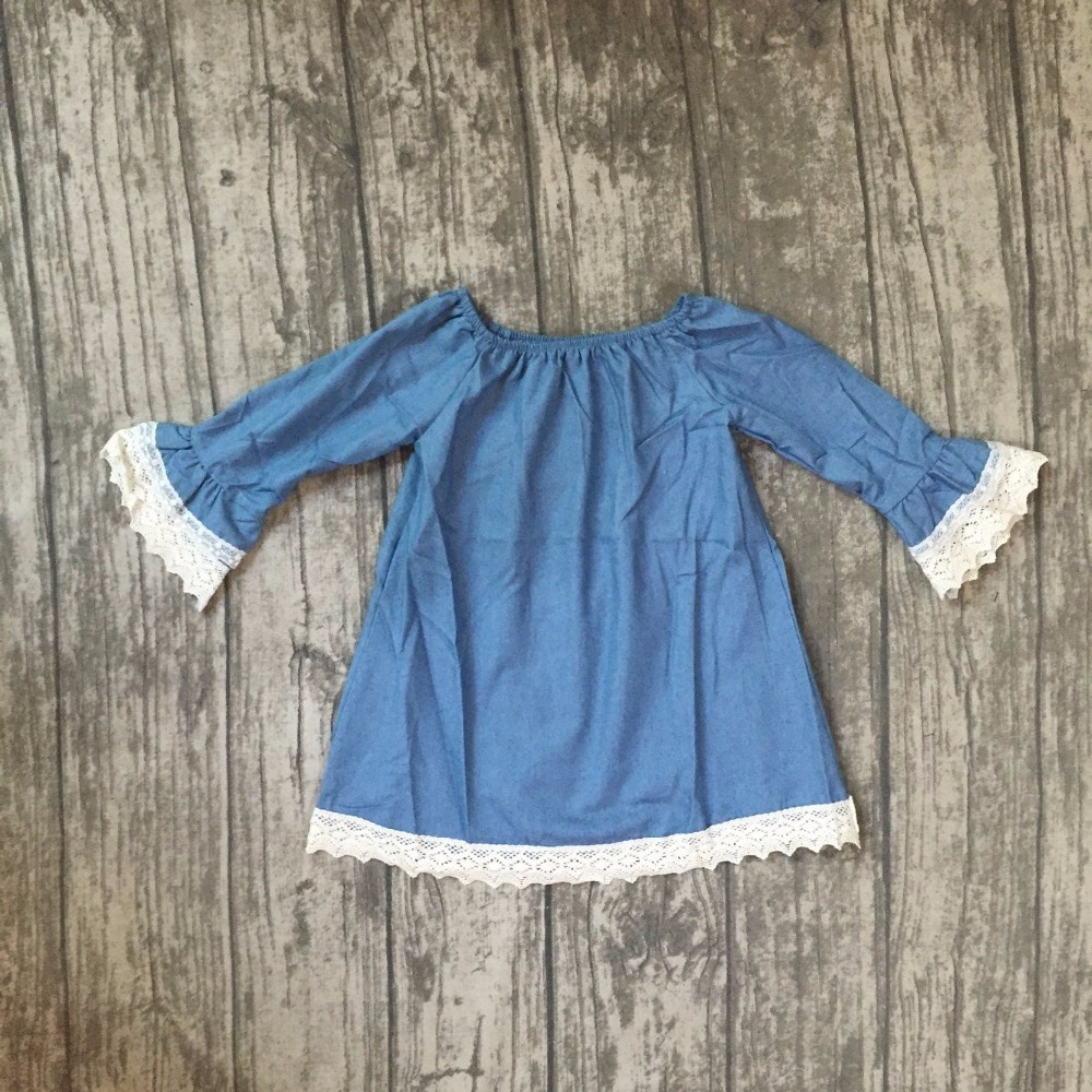 new spring baby girls children clothes cute solid color dress with white lace ruffle dress boutique summer soft Denim dress kids