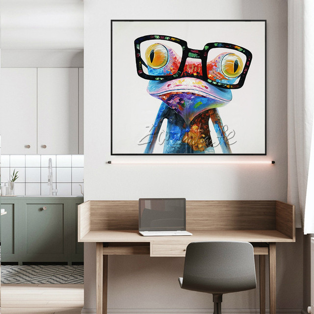 Frog Pop art Oil painting Quadros Cuadros Decoracion on Canvas Wall Art Pictures For Living Room Modern Animal Hand Painted