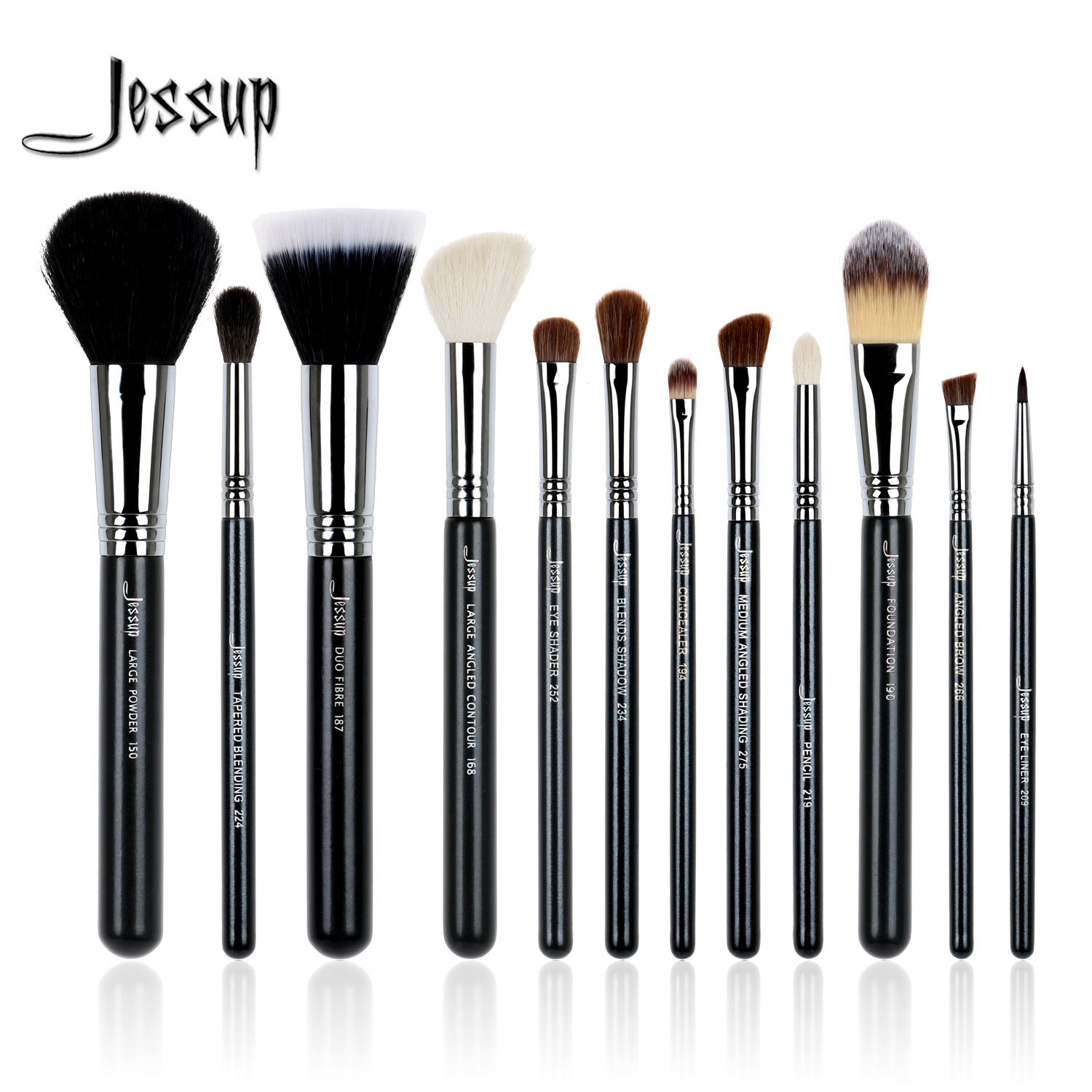 Jessup 12Pcs High Quality Pro Makeup Brushes Set Foundation Contour EyeShader Blend Eyeliner Brow Powder Make up Brush Tool new pro 22pcs cosmetic makeup brushes set bulsh powder foundation eyeshadow eyeliner lip make up brush high quality maquiagem