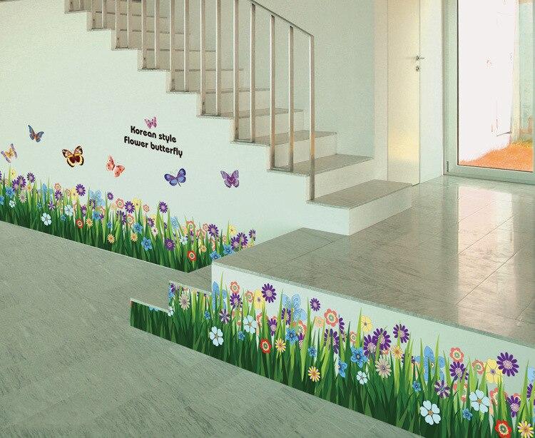 & barevné květiny motýli ploty základní deska obtisky domů - Dekorace interiéru
