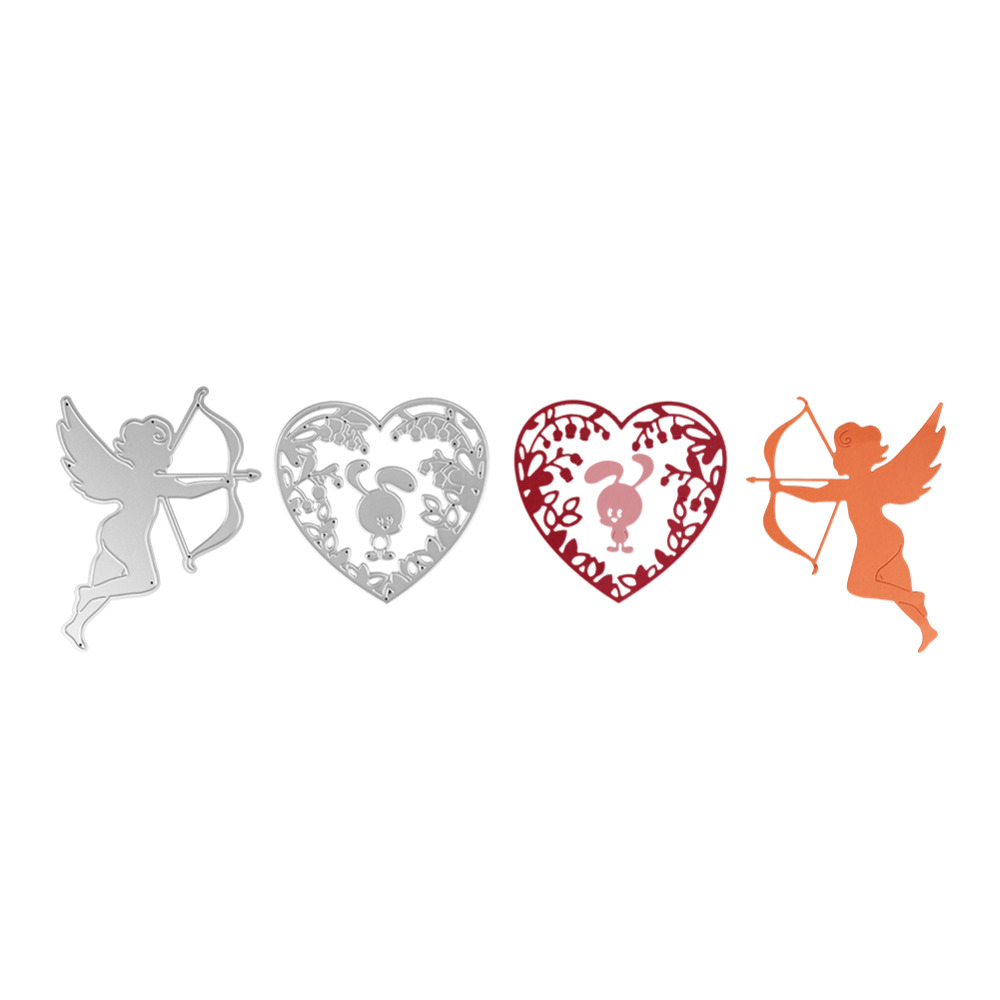 98*94mm scrapbooking Angel bow rabbit love Shape Metal steel cutting love angel Shape Book photo album art card Dies Cut