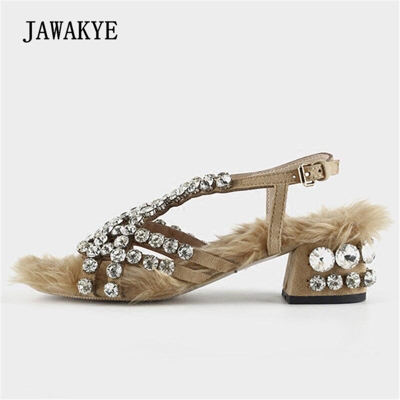 Sandalias de gladiador de diamantes de imitación de piel 2018 para mujer Zapatos de tacón bajo de diamante brillante zapatos de fiesta de moda para mujer-in Sandalias de mujer from zapatos    1