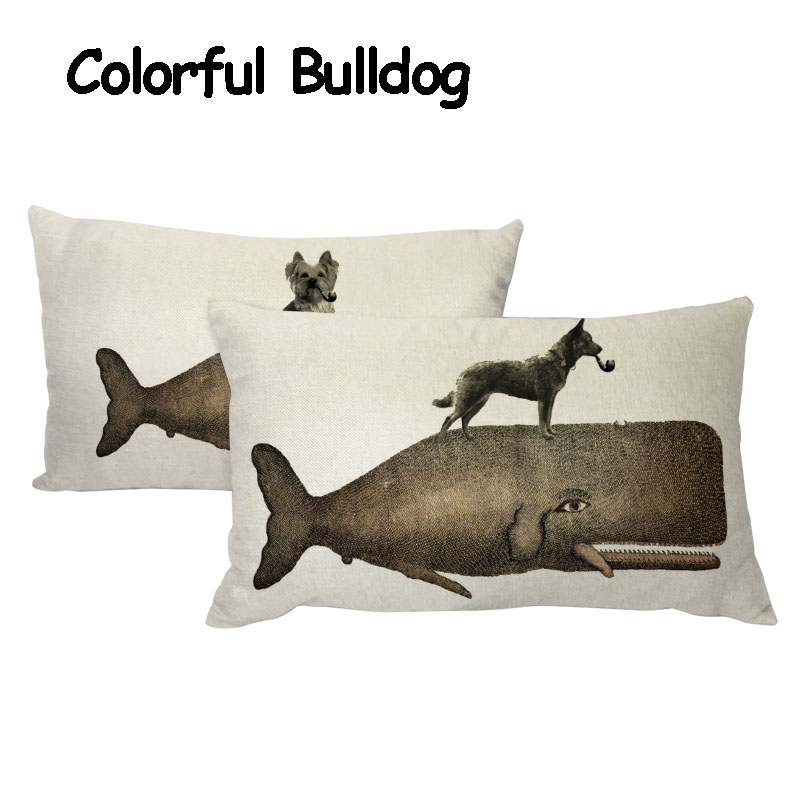 Retro Shabby Chic Shark Pillowcase French Bulldog Samoyed 17*17In Siberian Husky Dachshund Decor Home Office Lumber Cushion Cove
