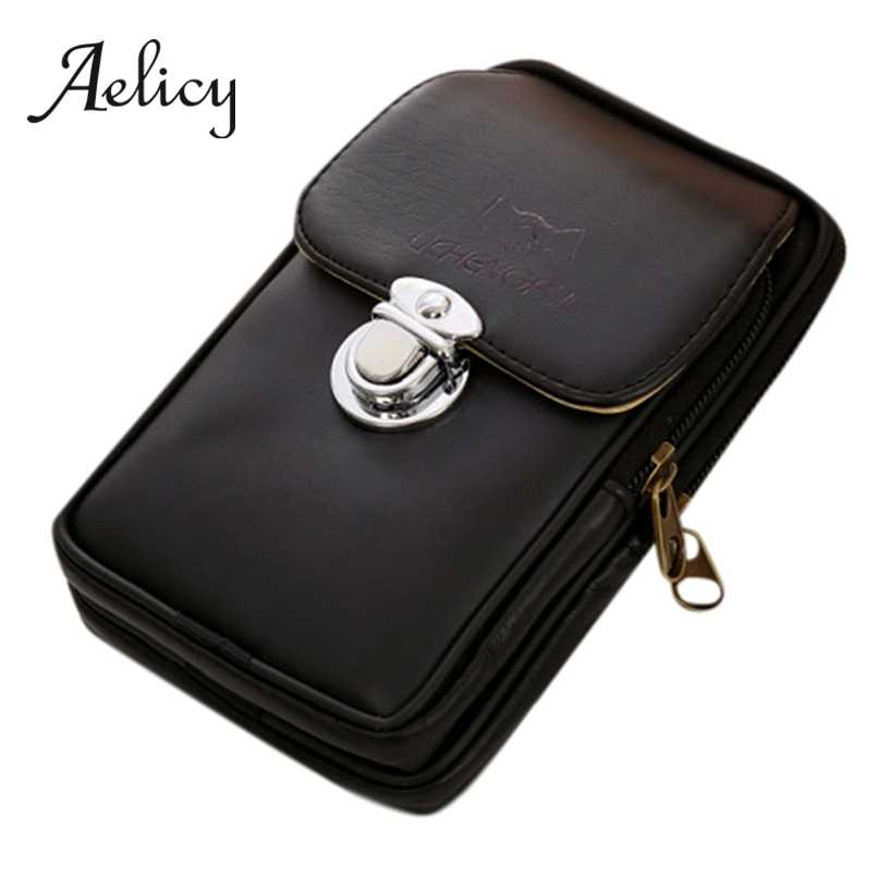 Aelicy ヴィンテージウエストパック男性 Pu レザー携帯電話ベルトバッグ携帯電話バッグトラベルベルト財布防水コイン財布 Handbag0