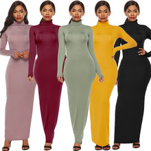 Plus Size S-5XL Long Sleeve Turtleneck Stretchy Long Dress 2019 Summer Women Solid Casual Slim Bodycon Package Hip Maxi Dresses(China)