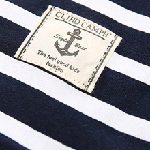 Mudkingdom Boys Summer Striped Tees Navy O-neck Short