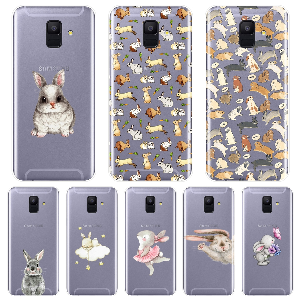 Back Cover For Samsung Galaxy A3 A5 2016 2017 A6 A7 A8 2018 <font><b>Kawaii</b></font> Rabbit Soft Silicone <font><b>Phone</b></font> <font><b>Case</b></font> For Samsung A6 A8 Plus 2018 image