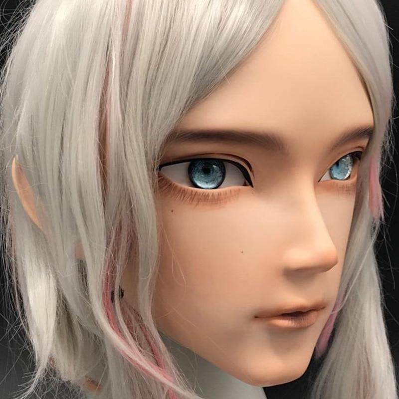 (LiLi Mask-01) Sweet Boy Resin Half Head Customize Cosplay Japanese Role Play Anime Silicone Kigurumi Mask Crossdresser Doll