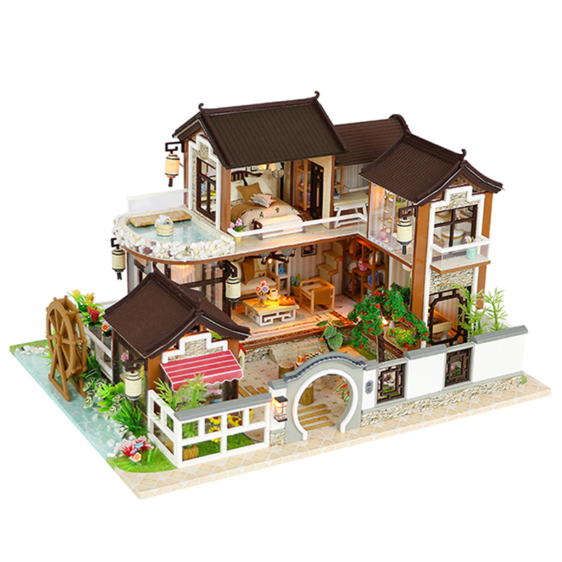 Bricolage maison de poupée Architecture ancienne sans couverture de poussière rêve retour à l'ancienne ville bricolage cabine sans couverture de poussière jouets faits à la main