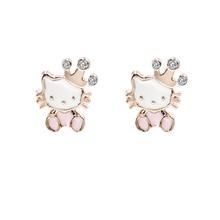 Cute Children Crystal Hello Kitty Cat Earrings for Girls Kids Gold Color Enamel Crown Flower Dancing Hello Kitty Jewelry