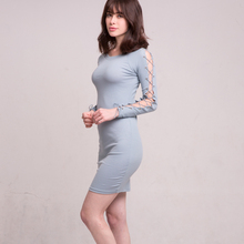 Bella Philosophy winter lace-up knitting sweater women dress stretchy sexy slim ladies vestidos o-neck casual female dress