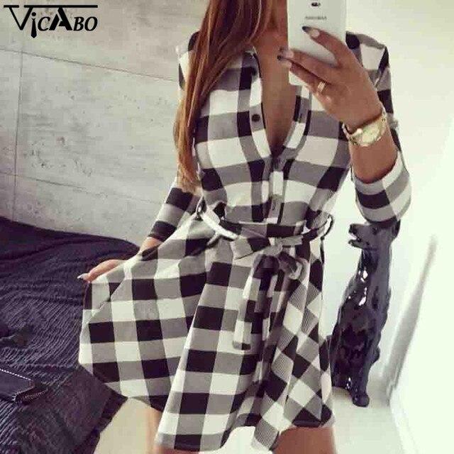 511d8e425d5 Sexy Women Tartan Plaid Checkered Belted Button Down Shirt Dress Autumn  Fall 3 4 Sleeve Outfit Outwear Skater Tunic Dresses