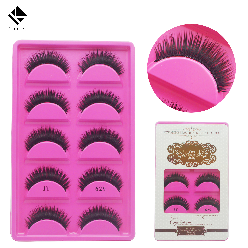 10Pcs/5Pairs handmade lovely Cilia Thick Black Cross False Eyelashes Make ups natural Long Fake Eyelash extensions tools A154(2