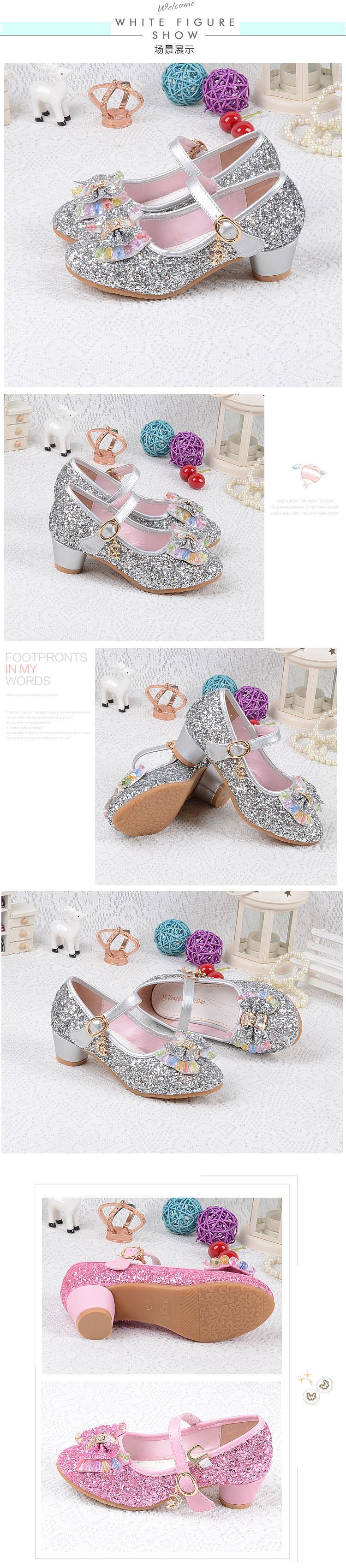 Children s Sequins Shoes Enfants 2016 Baby Girls Wedding Princess ... 745c0a5ca4d5