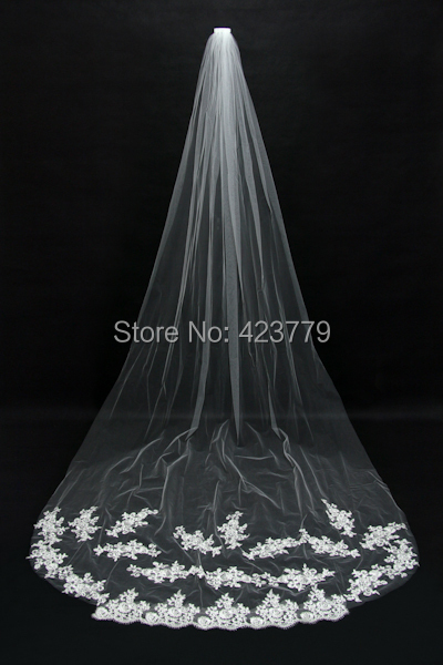 Voile Mariage Free Shipping White Ivory Beautiful Cathedral Length Lace Edge Wedding Bridal Veil With Comb Veu de Noiva