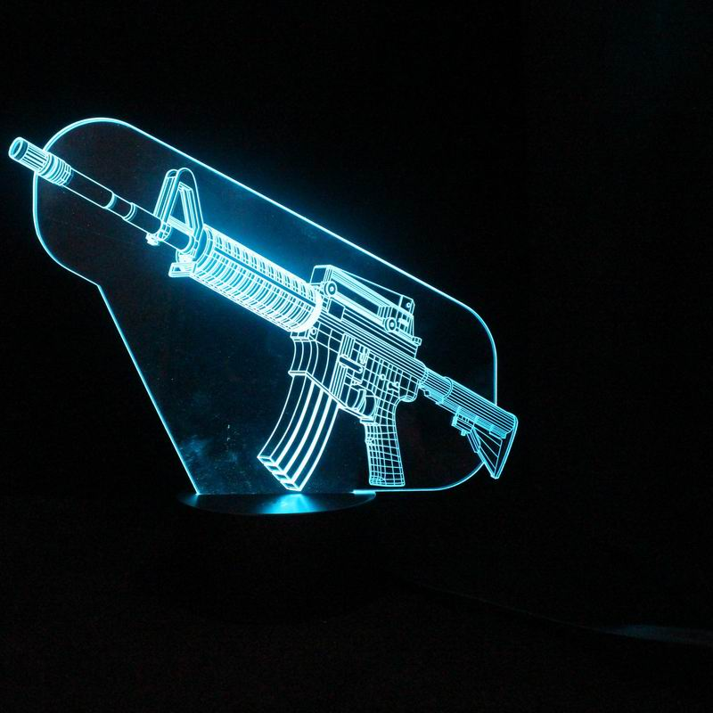 Cool 3d Machine Gun Table Lamp Led Night Lights With