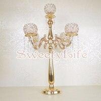 2017 lastest 75cm Tall Crystal Wedding Table Centerpiece Gold Canderlabra 10pcs/lot