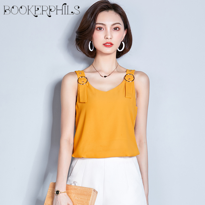 39c02944e2d 2018 Chiffon Tank Top Summer Female T-shirt Vest Sexy Loose Solid Color Sleeveless  Tops Shirt Casual T-shirts for women S-2XL