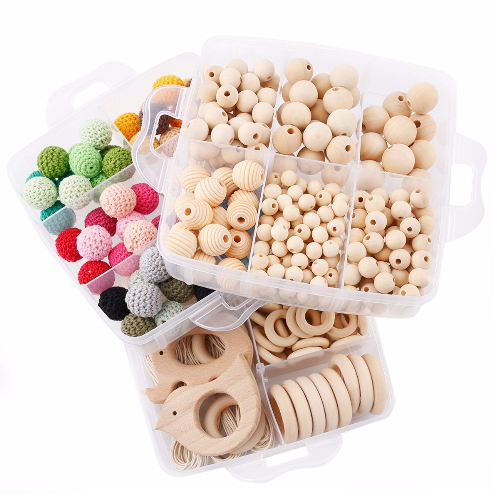 1 Set bricolage artisanat cadeaux Crochet perles perles en bois jouets de dentition fait à la main faisant collier Bracelet pendentif en bois bébé produits - 3