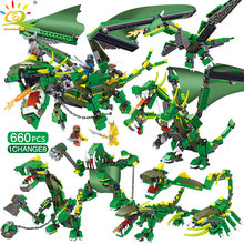 660pcs 8in1 Ninjaed Mech Dragon Building Blocks Compatible Legoingly Ninjagoed Mighty Dinosaurs Bricks Creator Toys for Children(China)