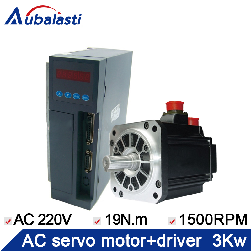 3KW AC servo motor 19N.M 1500RPM SZGH-18300CC 1PCS +AC servo driver SZGH-501 AC220V 1PCS 57 brushless servomotors dc servo drives ac servo drives engraving machines servo