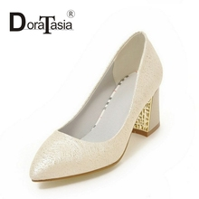 DoraTasia 2017 eourpean style Big Size 32-43 Slip On Women Pumps Platform Square High Heels Wedding Party Shoes