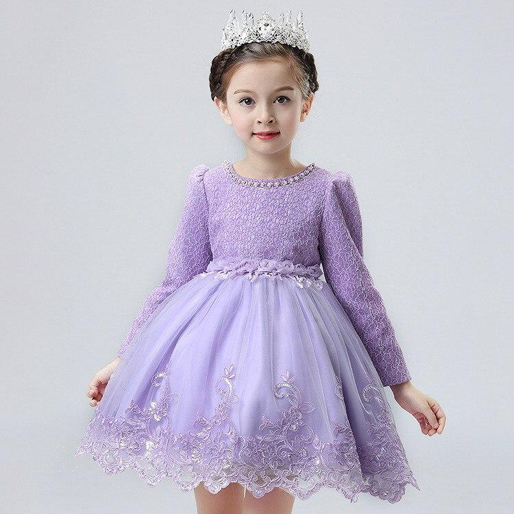 Niños Encaje princesa Girl comunión vestido del bebé de manga larga ...
