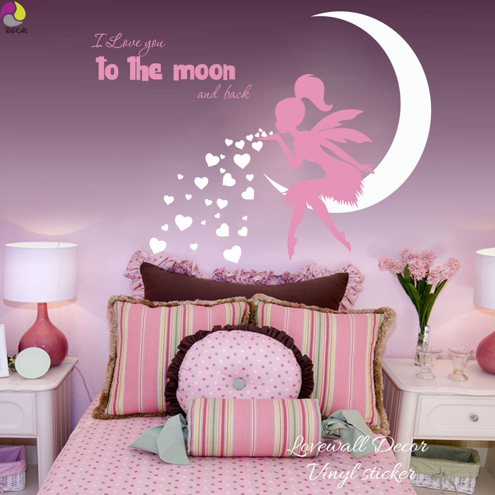 high quality girl quotes buy cheap girl quotes lots from high fairy blowing hearts kisses wall sticker baby nursery kids room i love you to moon and
