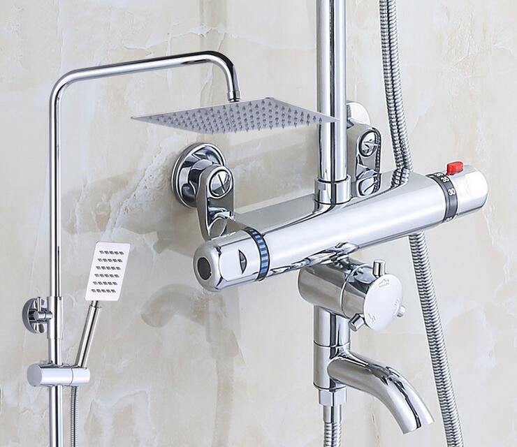 Bathroom thermostatic shower faucet shower head set,Wall mount shower faucet mixer,Brass shower faucet thermostatic mixing valve polished chrome wall mount temperature control shower faucet set brass thermostatic mixer valve with handshower