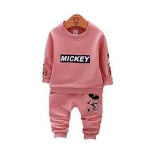 Осенне-зимний комплект одежды для девочек и мальчиков, свитер с Микки из мультфильма, футболка и штаны, 2 предмета, детская одежда, спортивный костюм, детская одежда