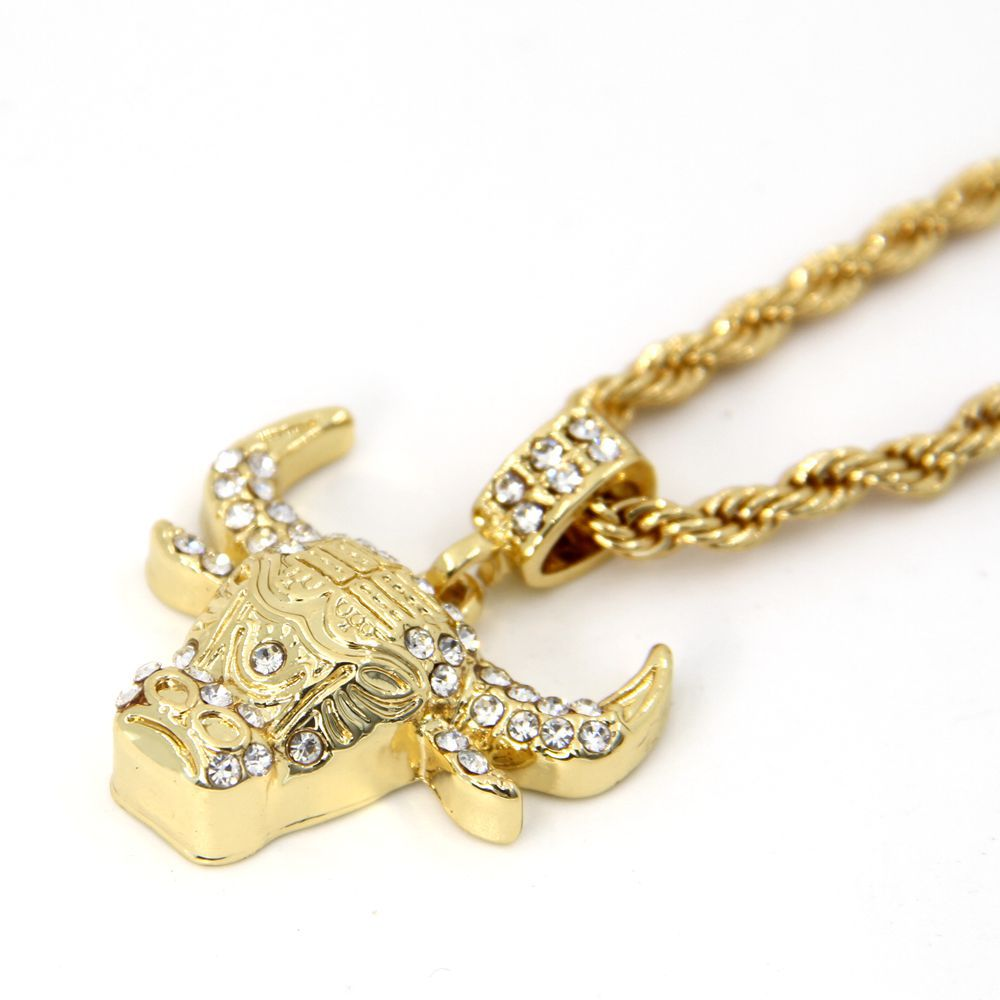 gold pendant real crown plated chain nyuki lion necklace with fashion jewelry