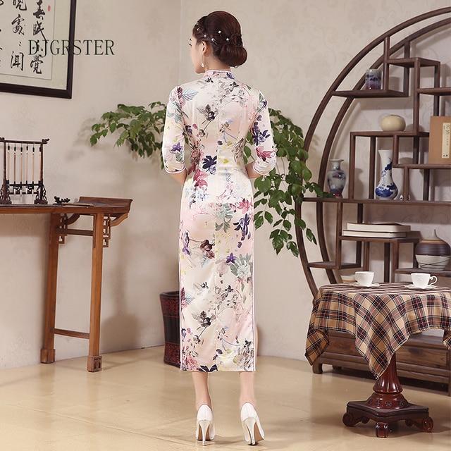 014ba5e24c093 DJGRSTER Cheongsam Dress Women Velvet Qipao Long Chinese Traditional Dress  Half Sleeve Vintage Cheongsams Plus Size